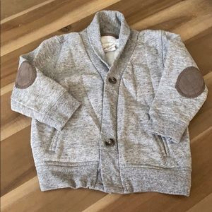 Gray cardigan sweater with elbow patches